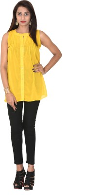 Rich Creations Casual, Party Sleeveless Solid Women's Yellow Top
