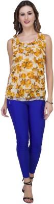 IshinDesignerStudio Casual Sleeveless Solid Women's Yellow Top