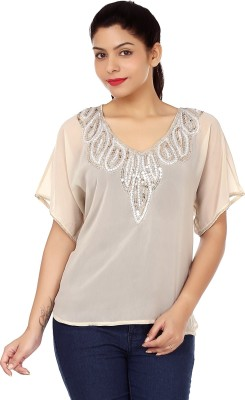 Instinct Casual Short Sleeve Embellished Women,s Beige Top