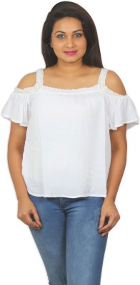 Old Khaki Casual Short Sleeve Solid Women's White Top