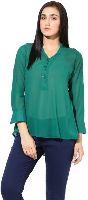 La Firangi Casual Full Sleeve Solid Women's Green Top