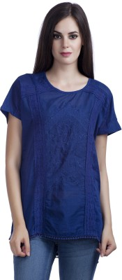MansiCollections Casual Short Sleeve Embroidered Women's Blue Top