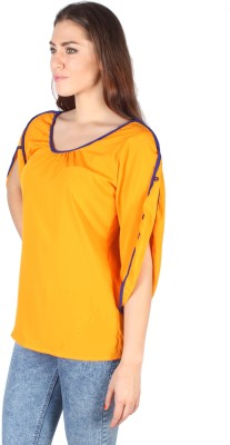 Kg&S Casual Short Sleeve Solid Women's Gold Top