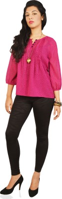 Isadora Casual 3/4 Sleeve Printed Women's Pink Top