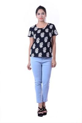 Megha Overseas Casual 3/4 Sleeve Printed Women's Black Top