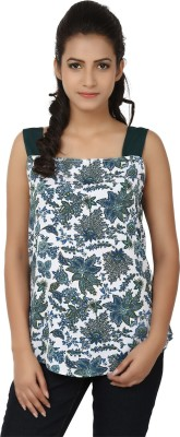 Tops and Tunics Casual Sleeveless Printed Women's White, Dark Green Top