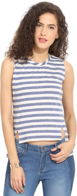 Northern Lights Casual Sleeveless Striped Women's White, Blue Top
