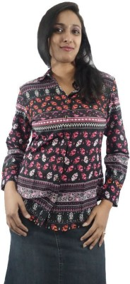 StareFashions Casual Full Sleeve Floral Print Women's Black Top