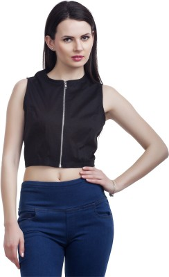 Peptrends Casual Sleeveless Solid Women's Black Top