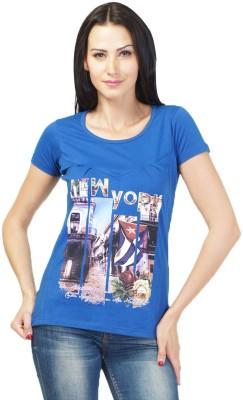 NEENUS Casual Short Sleeve Printed Girl's Blue Top