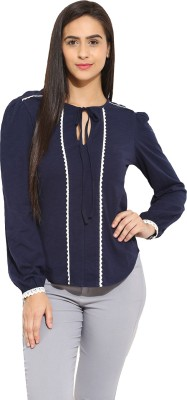 Why Knot Casual Full Sleeve Solid Women's Blue Top