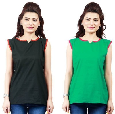 Ambitione Women,s, Girl's Solid Casual Black, Green Shirt