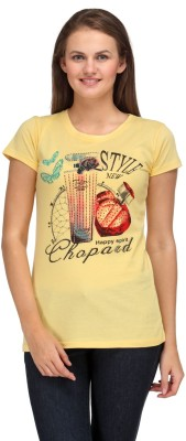 A A Store Casual Short Sleeve Solid, Printed Women's Yellow Top