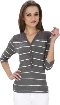 Svt Ada Collections Casual 3/4 Sleeve Striped Women's Grey Top