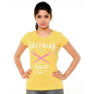 PEP18 Casual Short Sleeve Graphic Print Women's Yellow Top