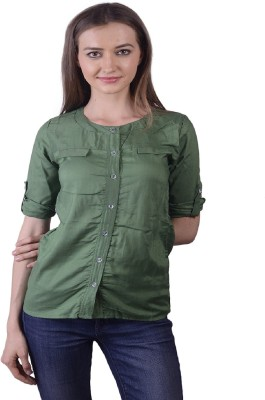 Lee Marc Casual 3/4 Sleeve Solid Women's Green Top