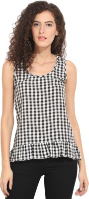 Hook & Eye Casual Sleeveless Checkered Women's Black, White Top