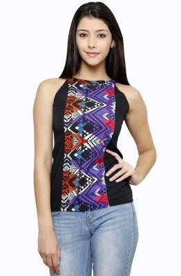 Rigo Casual Sleeveless Floral Print Women's Black Top