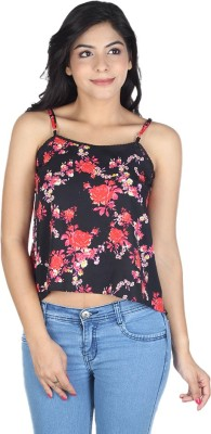 So Urban Casual Sleeveless Printed Women's Red, Black Top