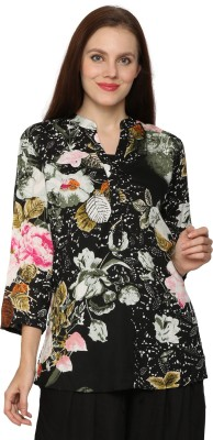 Prakum Casual 3/4 Sleeve Floral Print Women,s Multicolor Top