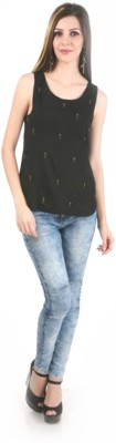 MansiCollections Casual Sleeveless Embellished Women's Black Top