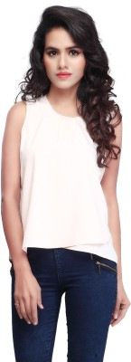 SFDS Casual, Formal, Party Sleeveless Self Design Women's White Top