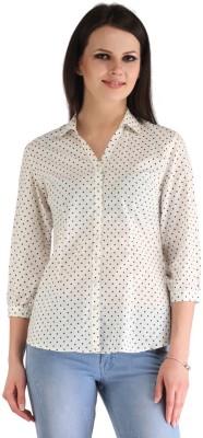 ZAIRE Casual 3/4 Sleeve Polka Print Women's White, Black Top