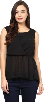 Rockland Life Party Sleeveless Solid Women's Black Top