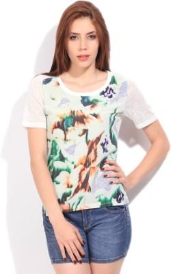 Elle Casual Short Sleeve Printed Women's White Top at flipkart