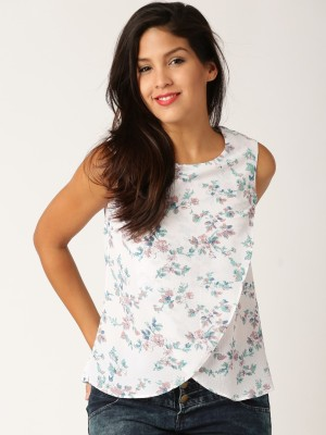Dressberry Casual Sleeveless Printed Women's White Top
