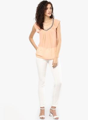 Only Casual Cap sleeve Solid Women's Orange Top
