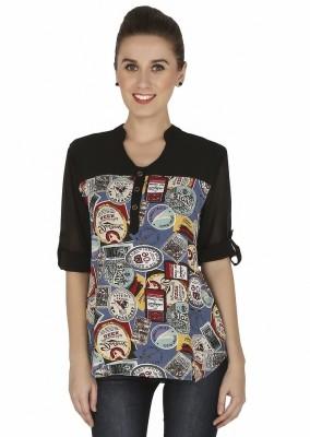 Girl Next Door Casual 3/4 Sleeve Printed Women's Multicolor Top