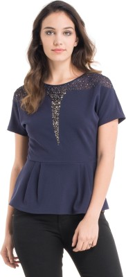 Kazo Casual Short Sleeve Embellished Women's Blue Top