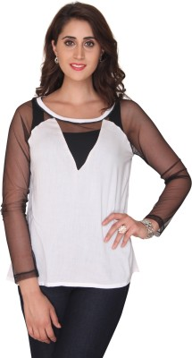 Bedazzle Casual Full Sleeve Solid Women's White Top at flipkart