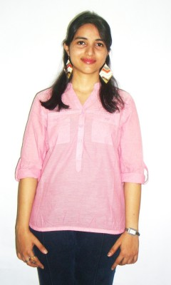 Revez Casual Full Sleeve Solid Women's Pink Top