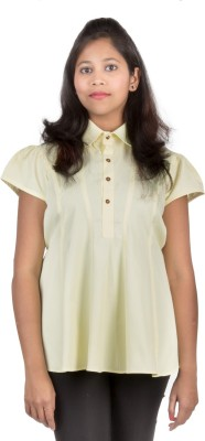 Juee Casual Cap sleeve Solid Women,s Yellow Top