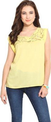 Free & Young Casual Cap sleeve Solid Women's Yellow Top