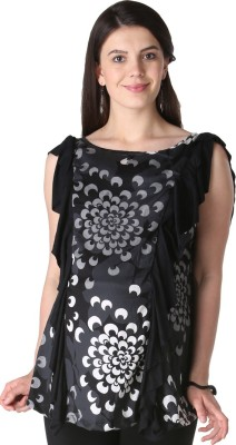 Morph Maternity Casual Sleeveless Printed Women's Black Top