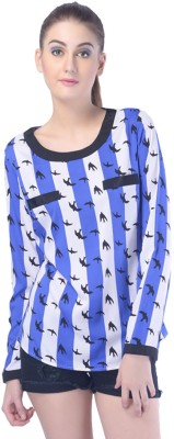 Trendy Divva Casual Full Sleeve Graphic Print Women's Blue, White Top at flipkart