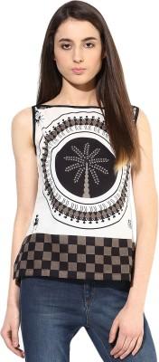 JaipurKurti Casual Sleeveless Printed Women's Black, White Top
