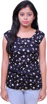 SKDC Casual Sleeveless Printed Women's Black Top