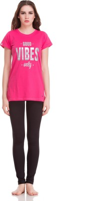 Private Lives Casual Short Sleeve Printed Women's Pink Top