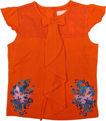 Jus Cubs Casual Cape Sleeve Embroidered Girl's Orange Top