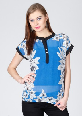 Latin Quarters Casual Short Sleeve Printed Women's Blue, White Top