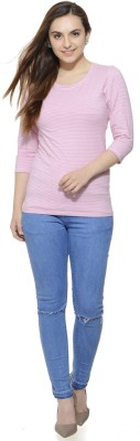 Fugue Casual 3/4 Sleeve Solid Women's Pink Top