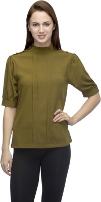 Primo Knot Casual Short Sleeve Solid Women's Green Top