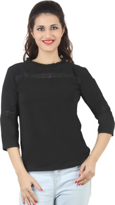 FamGlam Casual 3/4 Sleeve Self Design Women's Black Top