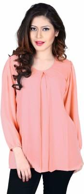 Aasvaa Casual Full Sleeve Solid Women's Pink Top