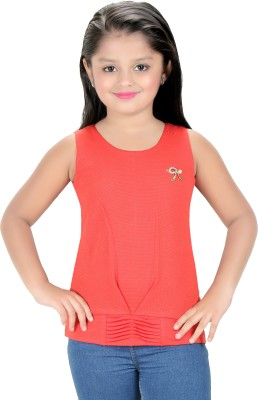 Triki Party Sleeveless Self Design Girl's Red Top