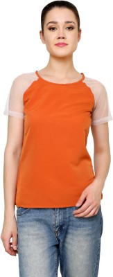 Jake Chiramel Casual Short Sleeve Solid Women's Orange Top